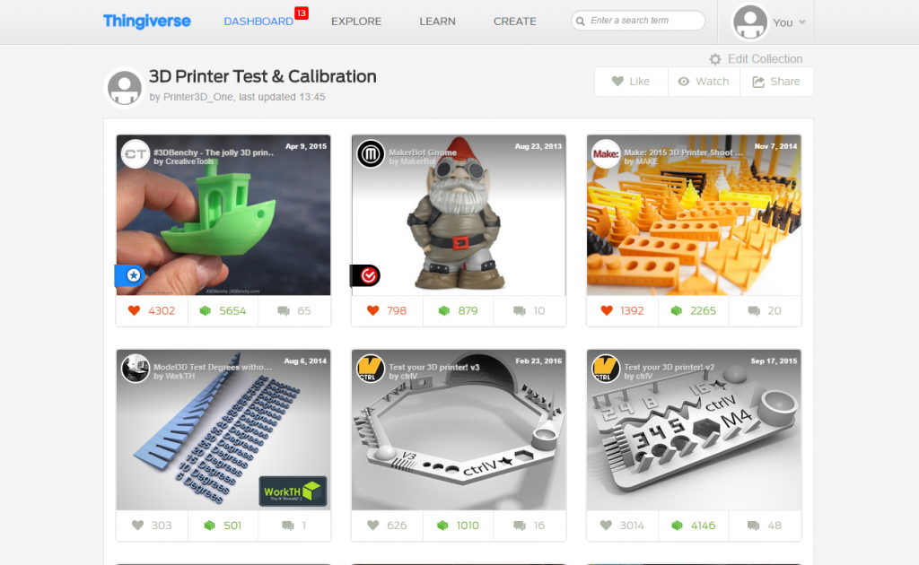3D Printer Test Calibration collection Thingiverse benchy gnome temp extruder printer3d one