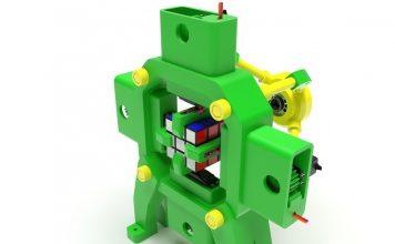 Fully 3D-Printed Rubik's Cube Solving Robot by otvinta3d - Thingiverse_DIY_robotic_pinter3d-one